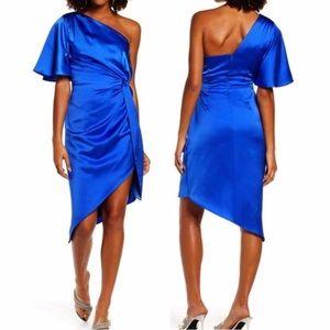 Harlyn One-Shoulder Satin Cocktail Dress in Cobalt